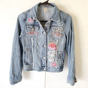 Limited Too Distressed Floral 14 Girls Jean Jacket